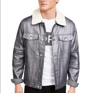 Michael Kors Men's Metallic Moto Trucker Jacket